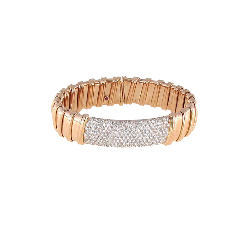 Roberto Coin 18Kt Rose Gold Pave Diamond Bangle