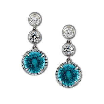 Apatite & Diamond Dangle Earrings