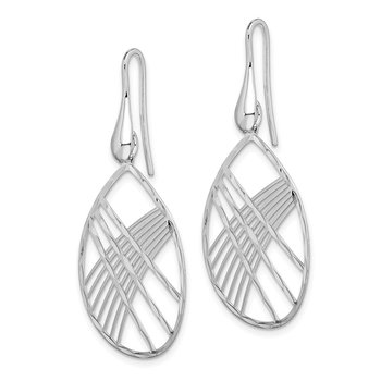 Sterling Silver Rhodium Plated D/C Teardrop Shepherd Hook Earrings