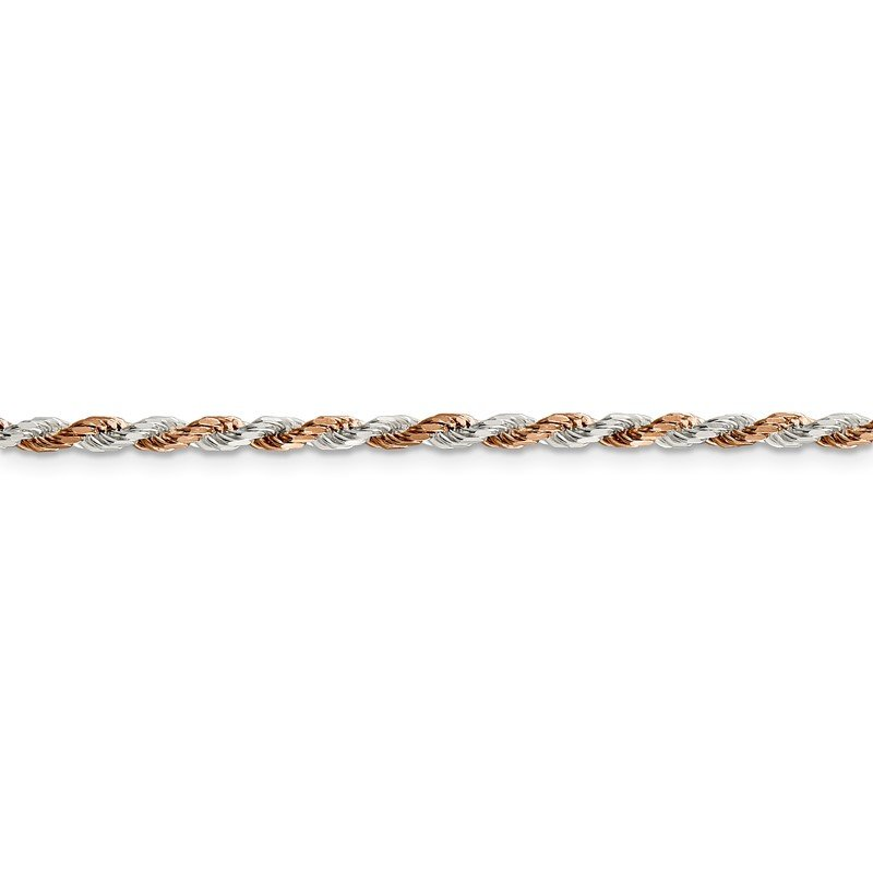 Quality Gold Sterling Silver And Rose Vermeil 2.5mm Diamond-cut Rope Chain