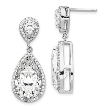 Cheryl M Sterling Silver Fancy CZ Dangle Post Earrings