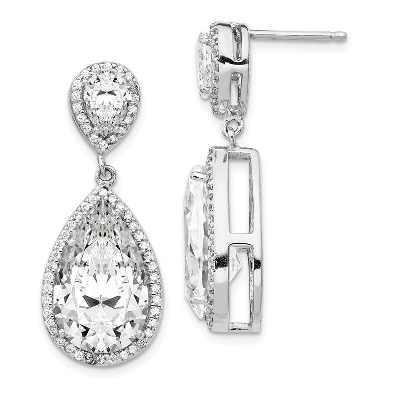 Cheryl M Cheryl M Sterling Silver Fancy CZ Dangle Post Earrings