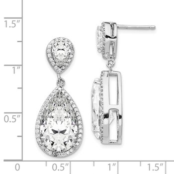 Cheryl M SS Rhodium Plated Fancy Pear Shape CZ Dangle Post Earrings