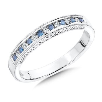 Channel Set Blue & White diamond anniversary band, 10k White Gold (1/7 ct. tw.) Fancy /