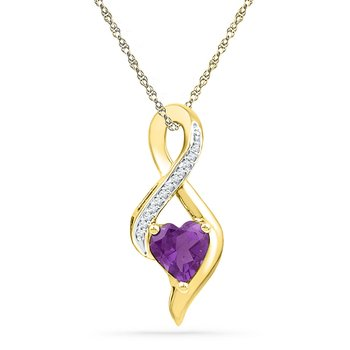 10kt Yellow Gold Womens Lab-Created Amethyst Heart Solitaire Infinity Pendant 1/20 Cttw