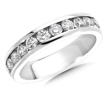 Channel set Round Diamond Wedding Band 14k White Gold (1/7 ct. tw.)