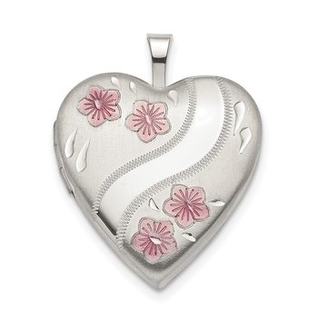 Sterling Silver 20mm Pink Enamel Flower Heart Locket