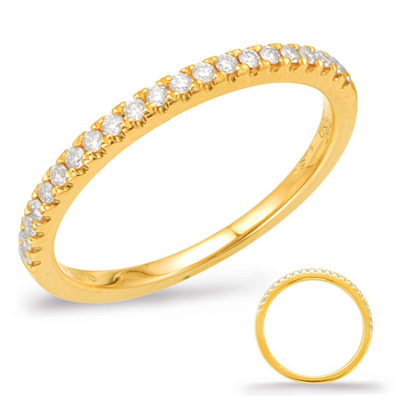 S. Kashi & Sons Bridal Pink Diamond Wedding Band -Yellow Gold