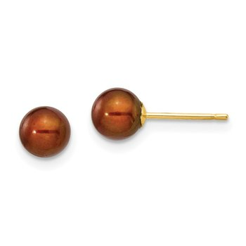 14k 5-6mm Coffee Round Freshwater Cultured Pearl Stud Post Earrings