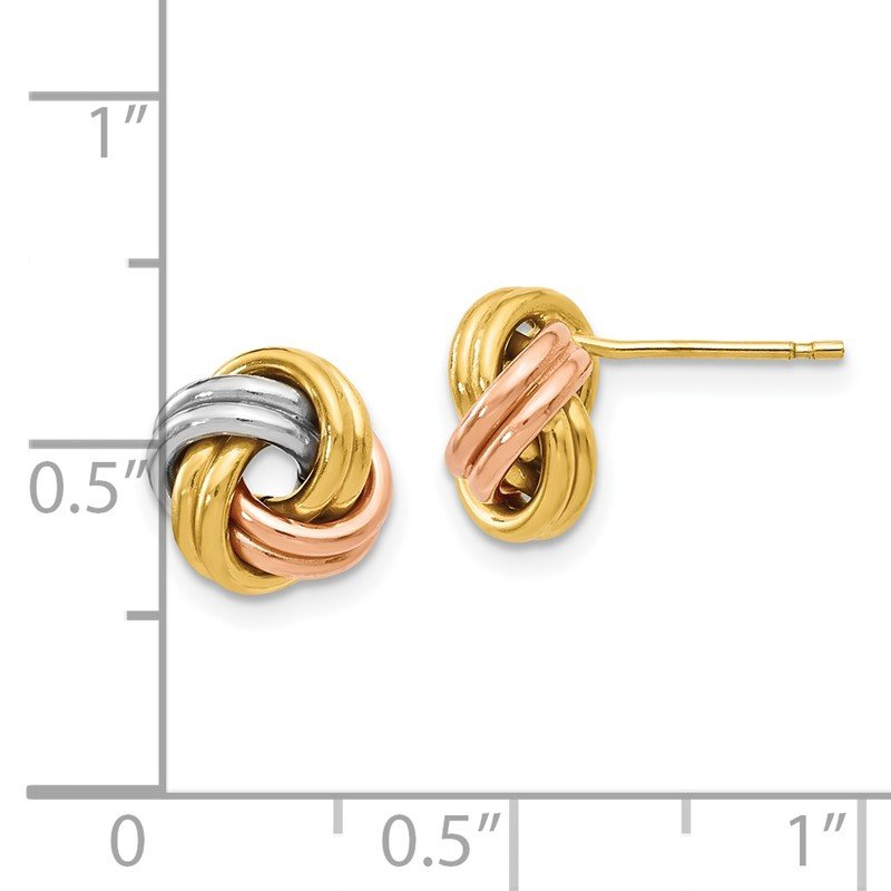 Leslie's Leslie's 14K Tri-Color Polished Love Knot Post Earrings