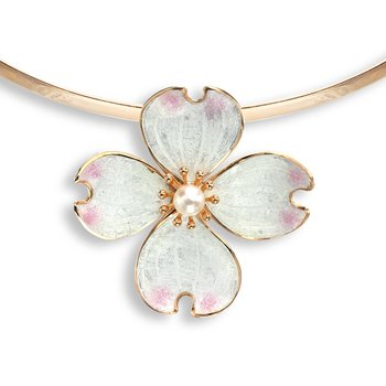 White Dogwood Collar Necklace.Rose Gold Plated Sterling Silver-Akoya Pearl