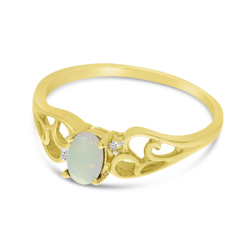 Color Merchants 10k Yellow Gold Oval Opal And Diamond Ring