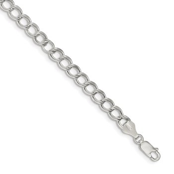 Sterling Silver 6mm Double Link Charm Bracelet