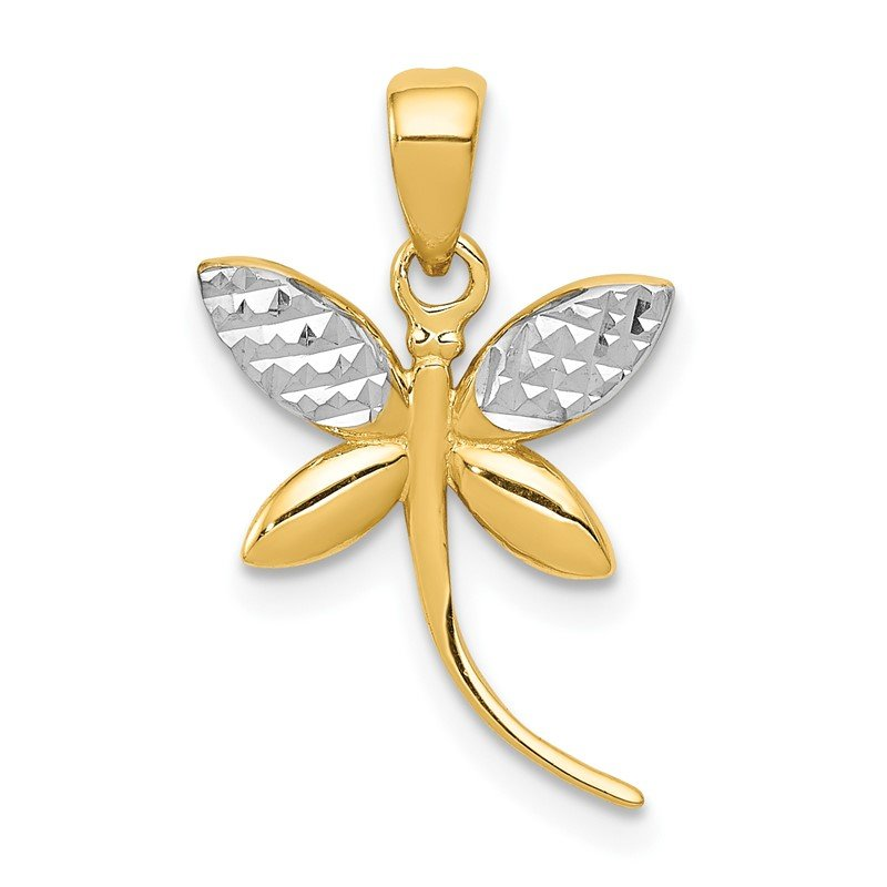 Quality Gold 14k w/Rhodium D/C and Polished Dragonfly Pendant