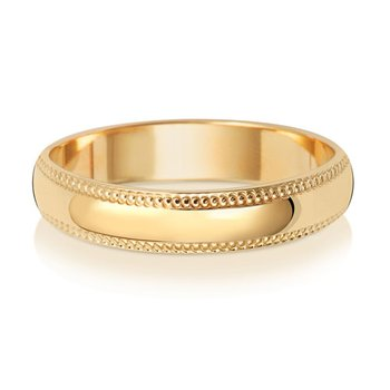 18Ct Yellow Gold 4mm D Shape Millgrain Wedding Ring