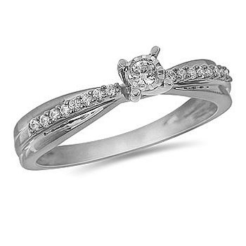 10K WG Diamond Ring in Prong and Miracle Center Setting