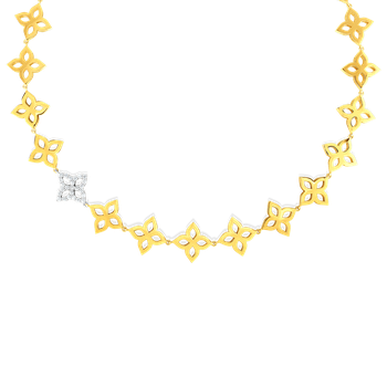 18K Gold & Diamond Flower Outline Collar