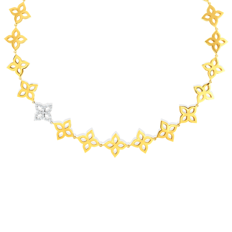 Roberto Coin 18K Gold & Diamond Flower Outline Collar