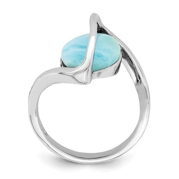 Sterling Silver Rhodium-plated Larimar Twisted Ring