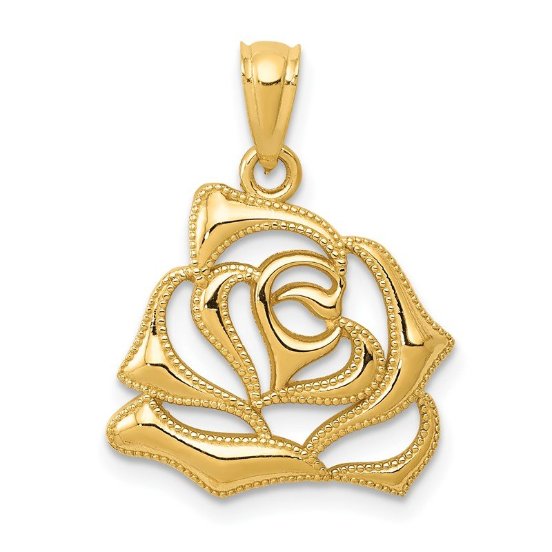 Quality Gold 14k Polished Open Rose Pendant