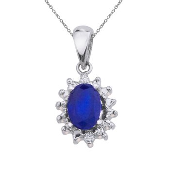 10k White Gold 6x4 mm Sapphire and Diamond Pendant