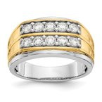 True Origin 14kw True Origin Lab Grown Diamond VS/SI, D E F, Two-tone Pol Mens Band