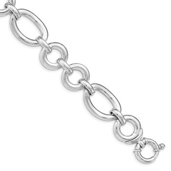 Sterling Silver Rhodium Plated Polished Fancy Link Bracelet