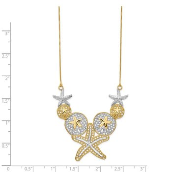 14k & Rhodium Diamond-cut Starfish and Sand Dollar Necklace