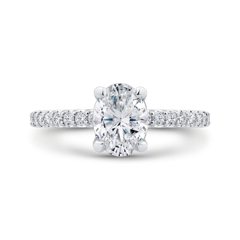 Oval Cut Diamond Engagement Ring In 18K White Gold (Semi-Mount)