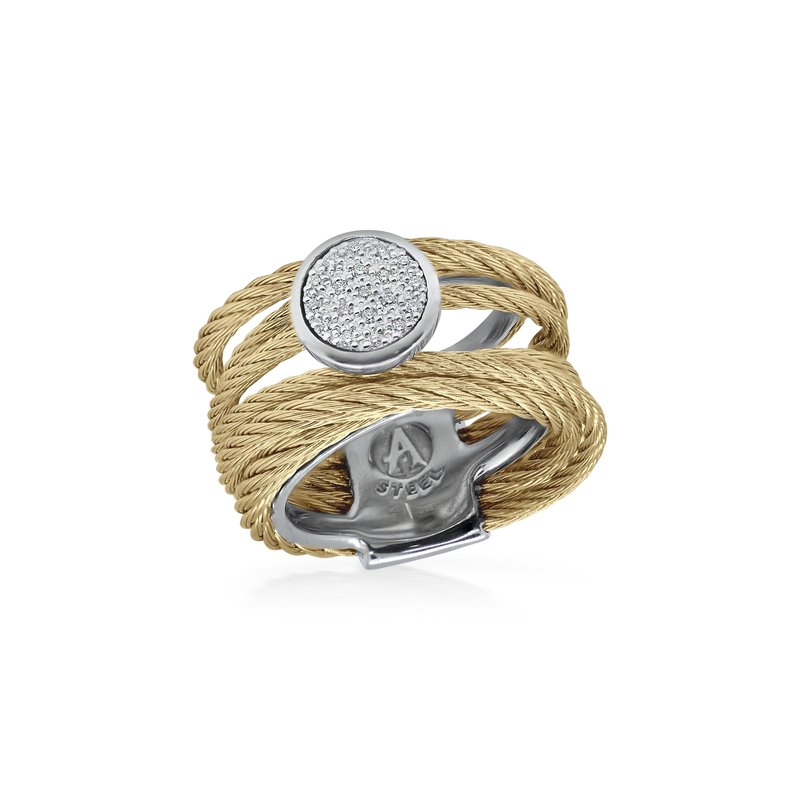 ALOR Yellow Cable Intermix Ring with 18kt White Gold & Round Diamond Station