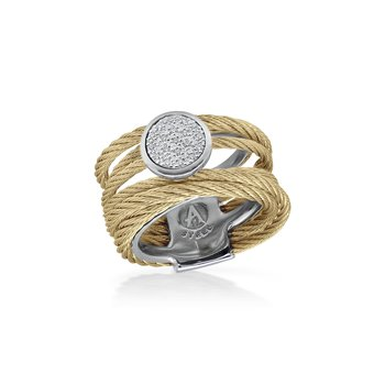 Yellow Cable Intermix Ring with 18kt White Gold & Round Diamond Station