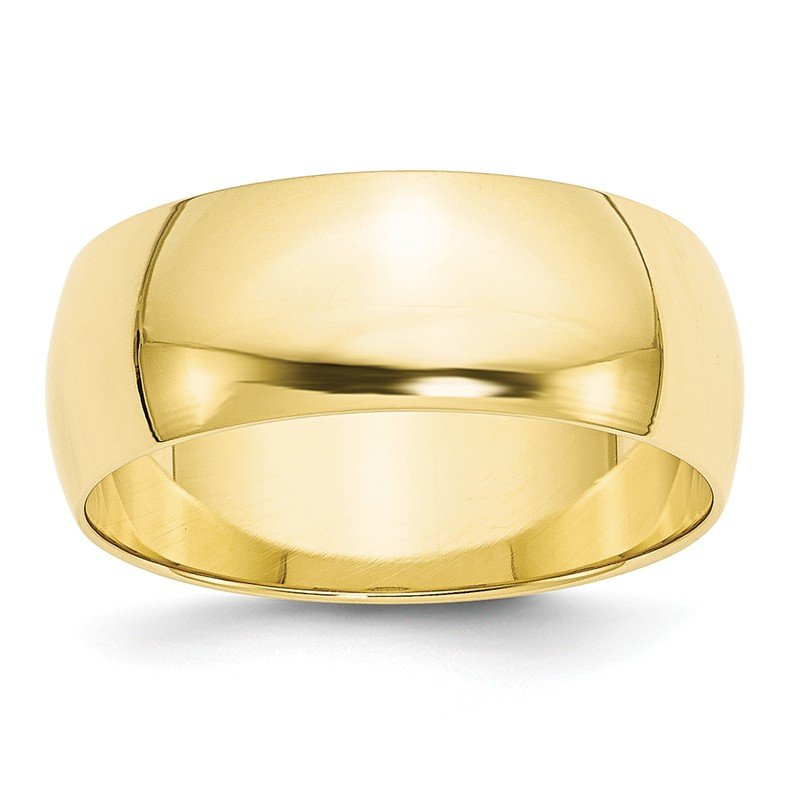 Quality Gold 10KY 8mm LTW Half Round Band Size 10