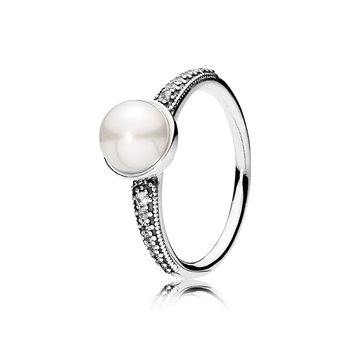 Elegant Beauty Ring, White Pearl & Clear CZ