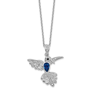 Cheryl M SS RhodP CZ/LabCr. Dark Blue Spinel Hummingbird 18in Necklace