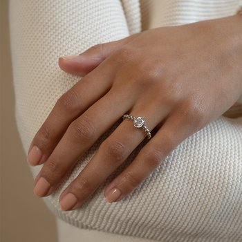 Diamond Twist Solitaire Engagement Ring