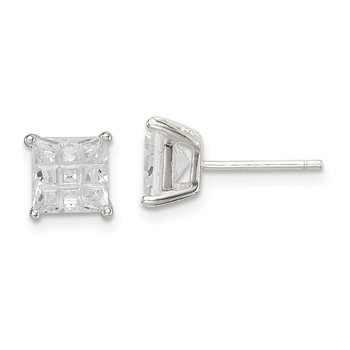 Sterling Silver 6mm Square Laser-cut CZ Basket Set Stud Earrings
