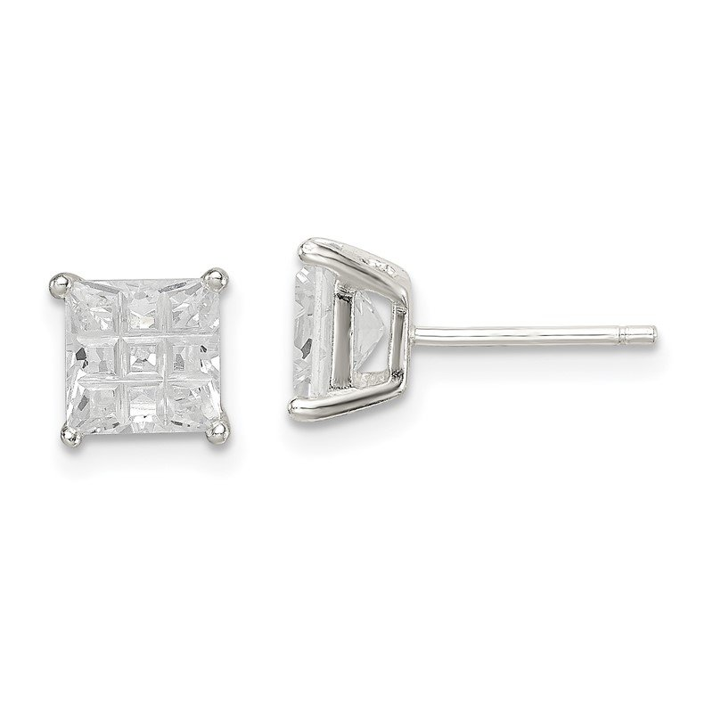 Quality Gold Sterling Silver 6mm Square Laser-cut CZ Basket Set Stud Earrings