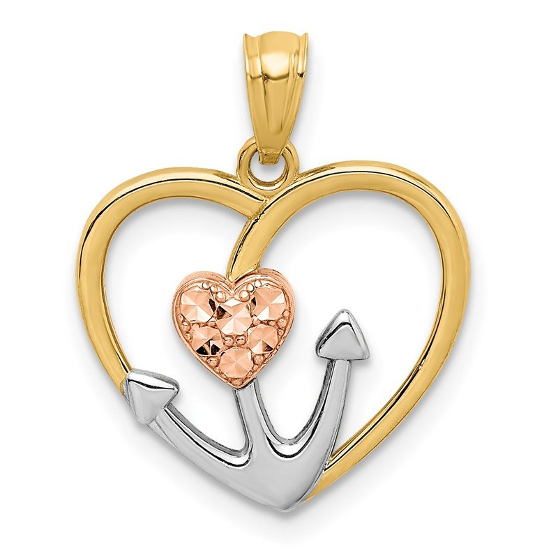 Quality Gold 14K Two-tone Diamond-cut White Rhodium Anchor Heart Pendant