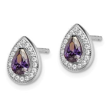Sterling Silver Rhod Plated Purple and Clear CZ Earrings