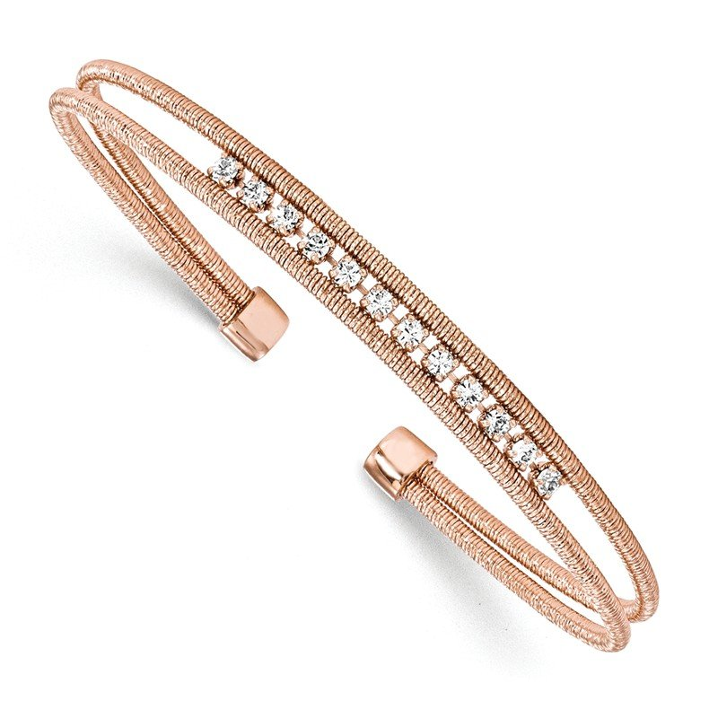 Leslie's Leslie's Sterling Silver Rhodium-plated Rose Gold-plated CZ Woven Cuff