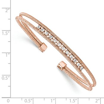 Leslie's Sterling Silver Rhodium-plated Rose Gold-plated CZ Woven Cuff