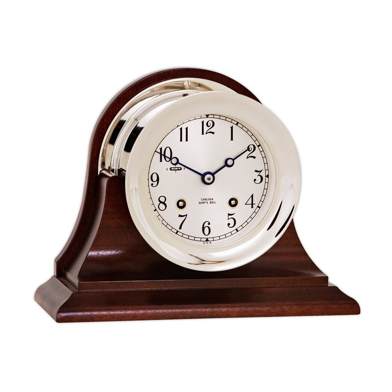 "Chelsea Clocks 4 1/2"" Ship's Bell Nickel, Traditional Base"