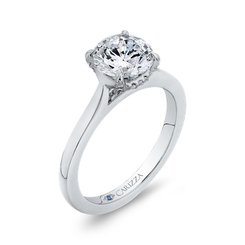 18K White Gold Round Diamond Classic Engagement Ring (Semi-Mount)