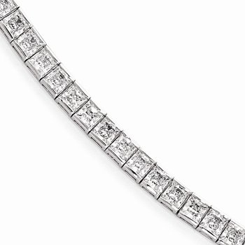 Sterling Silver Rhodium Plated CZ 7in Bracelet