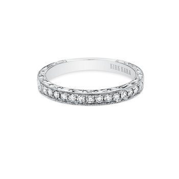Engraved Classic Diamond Wedding Band