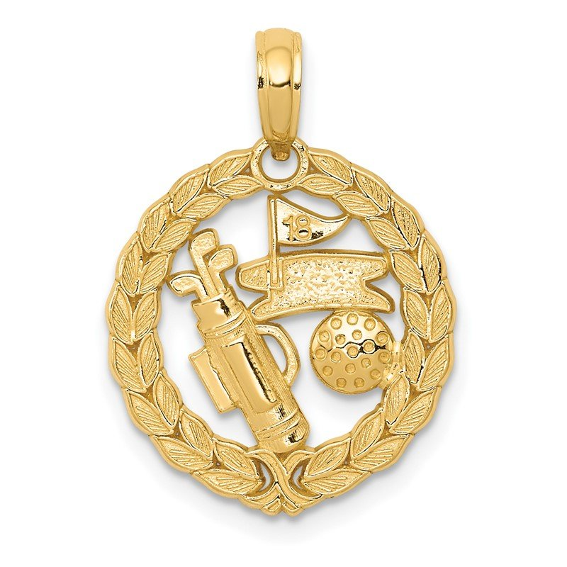 Quality Gold 14k Solid Polished Golf Theme Pendant
