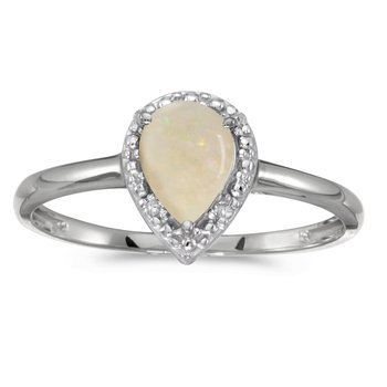 14k White Gold Pear Opal And Diamond Ring