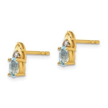 14k Aquamarine and Diamond Earrings
