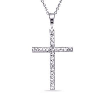 White Gold Fishtail Cross