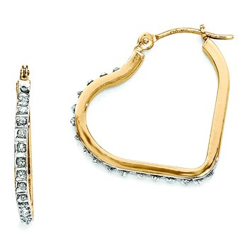 14k Diamond Fascination Heart Hinged Hoop Earrings